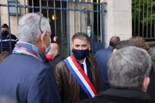 Le premier secrétaire du PS, Olivier Faure, lors du rassemblementdes syndicats de policiers, devant l'Assemblée nationale, à Paris, le 19mai.