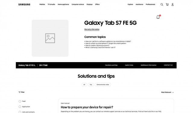 Galaxy Tab S7 FE 5G support page