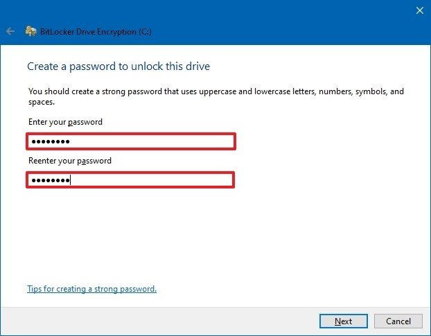 Bitlocker create unlock password