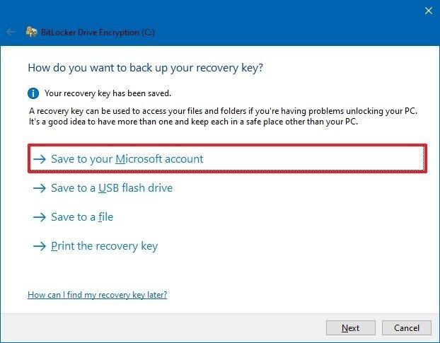 Backup recovery key for BitLocker