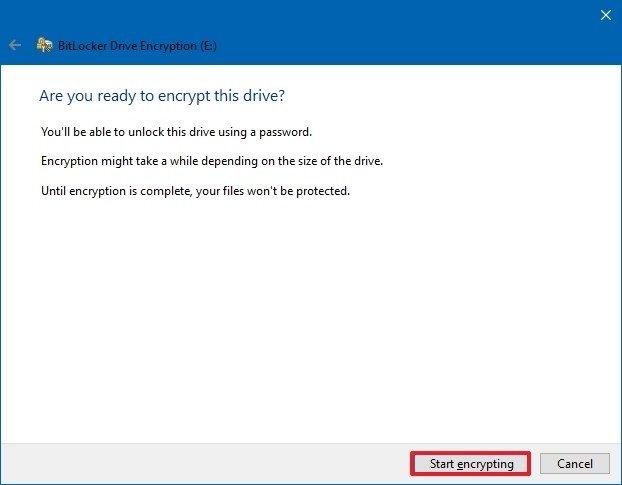 Start encrypting option
