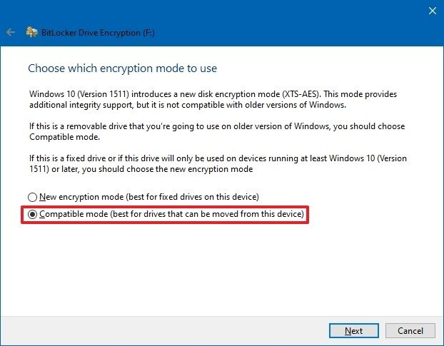 BitLocker To Go with Compatibility Mode