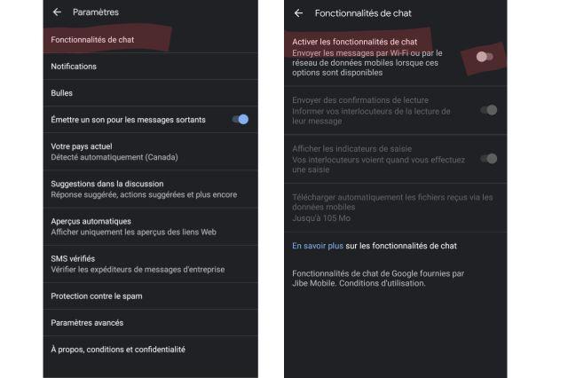 Google Messages Desactiver RCS