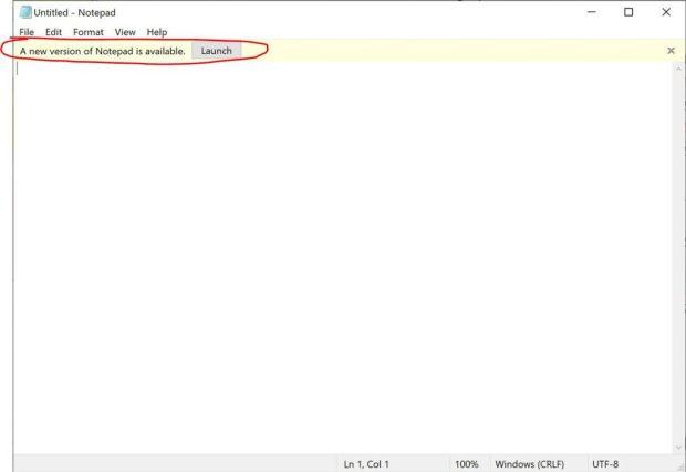 Notepad, une notification indique qu'une nouvelle version est disponible