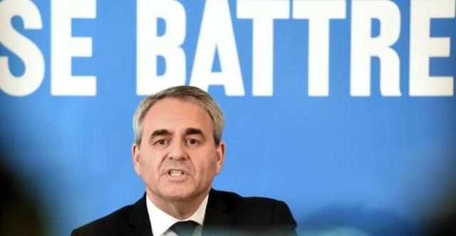 Xavier Bertrand, lors de son premier meeting de campagne pour sa réélection de président des Hauts-de-France, le 3 mai à Maubeuge.