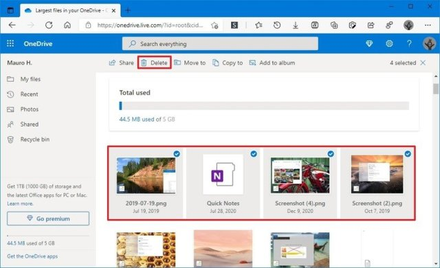 Onedrive free up space option