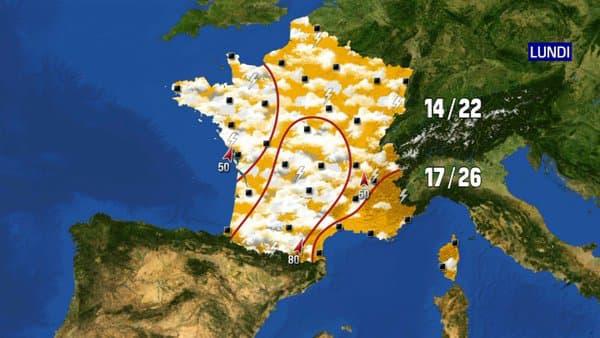Les prévisions météo du lundi 21 juin 2021.