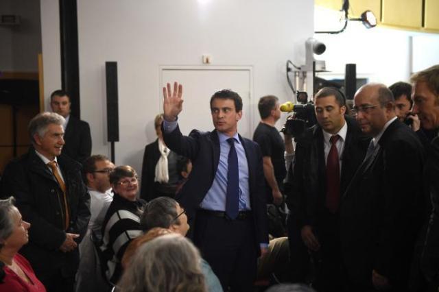 Manuel Valls lorsqu'il était premier ministre socialiste, le 14 avril 2014, à Evry.