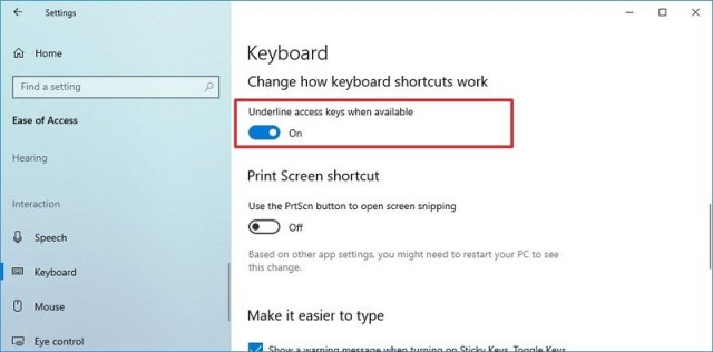Underline access keys when available