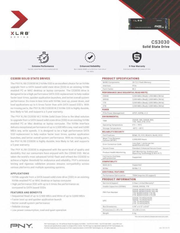 SSD XLR8 CS3030 de PNY - Spécifications avant l'ajustement de PNY