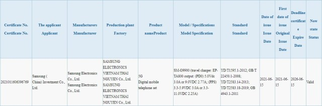 The Samsung Galaxy S21 FE will support 25W fast charging, 3C certification reveals