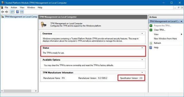 Windows 10 check TPM chip