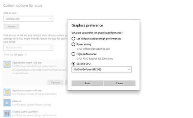 Windows 11 – Option pour sélectionner un GPU particulier