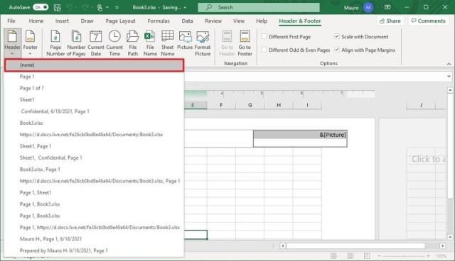 Excel remove header using Insert tab