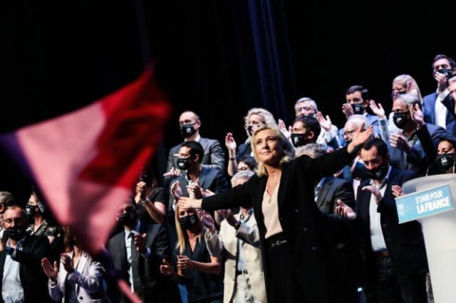 Marine Le Pen, au deuxièmejour du congrès du Rassemblement national, àPerpignan, le 4 juillet 2021.