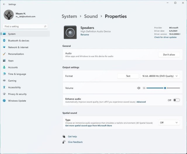 Speakers properties on Windows 11