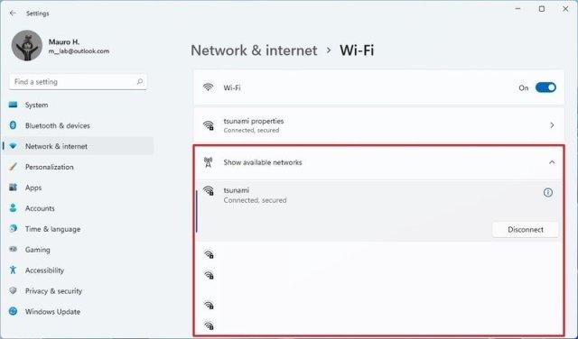 Windows 11 Wi-Fi settings
