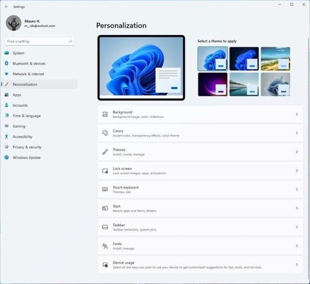 Windows 11 Personalization settings