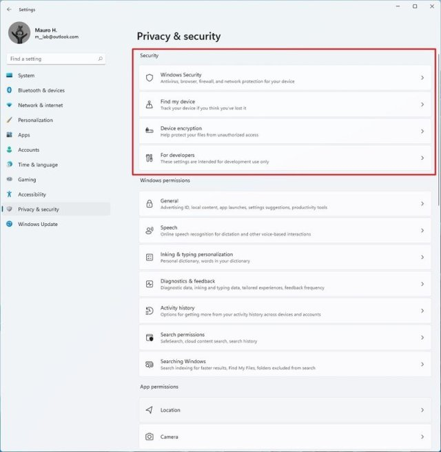 Windows 11 Privacy & Security settings