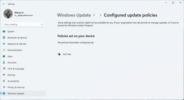 Configured Update Policies