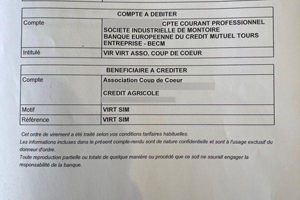 L'avis d'opération de virement entre le compte courant professionnel de l'entreprise BECM pour l'Association Coup de Coeur d'un montant de 5000€.