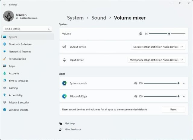 Windows 11 volume mixer settings