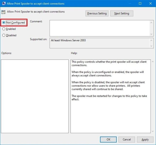 Allow printer connections on Windows 10