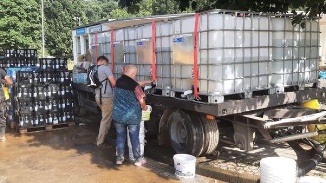 Des réservoirs d'eau potable à Sinzig (Rhénanie-Palatinat) à 3 kilomètres de Bad Bodendorf (Allemagne) le 17 juillet 2021. (Sébastien Baer)