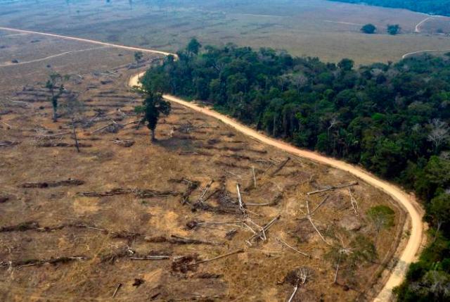 Une vue aérienne de zones brûlées de la forêt amazonienne, près de Porto Velho, dans l'Etat de Rondônia, au Brésil, le 24 août 2019.