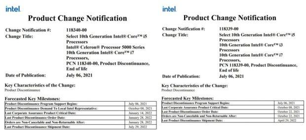 Product Change Notification - Processeur Intel Comet Lake-U