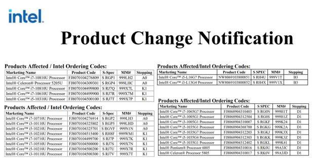 Intel annonce l'abandon des processeurs Core Comet Lake-U, Ice Lake-U et Lakefield