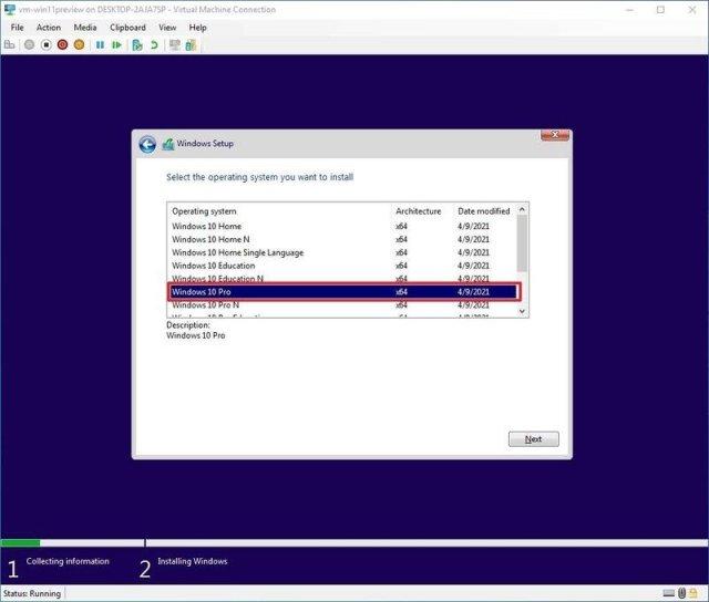 Windows Setup select edition