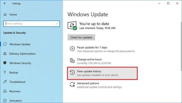 Windows Update history option