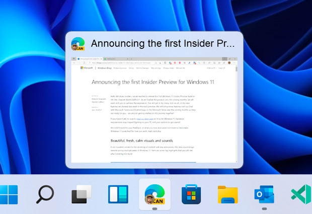 Windows 11, Aperçus de la barre des tâches