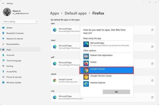 Set Chrome as default web browser