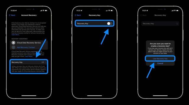 """Comment utiliser iCloud Data Recovery walkthrough 3 - Appuyez sur la clé de récupération, appuyez sur la bascule pour l'activer, choisissez """"Utiliser la clé de récupération"""""""