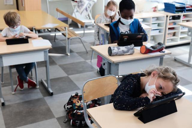 Une classe d'école élementaire, à Reims, le 24août2021.