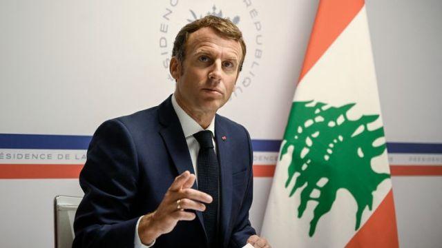 Emmanuel Macron s'est exprimé depuis le fort de Brégançon lors d'uneconférence internationale sur la situation du Liban, tenue à distance avec desreprésentants d'une quarantaine d'États et d'organisations internationales. (CHRISTOPHE SIMON / POOL / AFP)