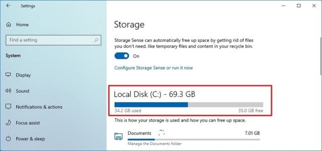 Check hard drive space