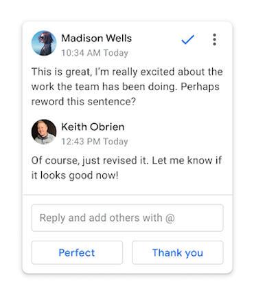 Google Docs ajoute une nouvelle fonctionnalité pour ses commentaires