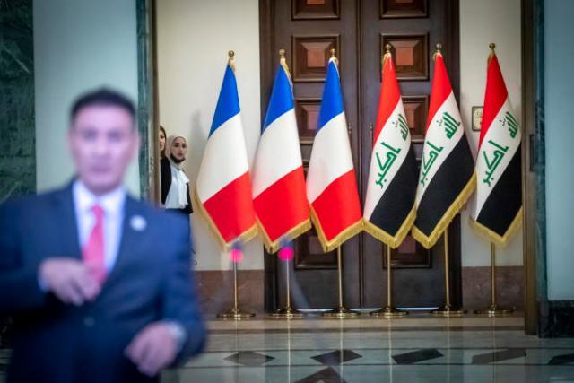 A Bagdad, samedi, avant la déclaration d'Emmanuel Macron avec le premier ministre irakien, Mustafa Al-Kadhimi.