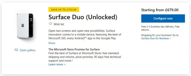 Microsoft UK discounts Surface Duo to £679