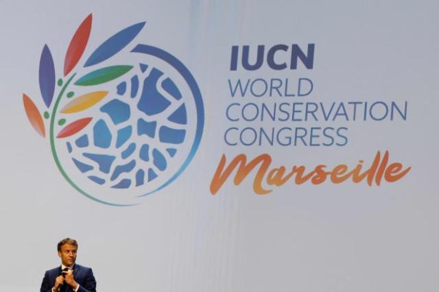 Emmanuel Macron lors de l'ouverture du congrès de l'IUCN, à Marseille, le 3 septembre 2021.