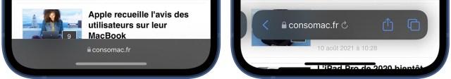 iOS 15 Bêta 5 Bouton rafraichir Safari