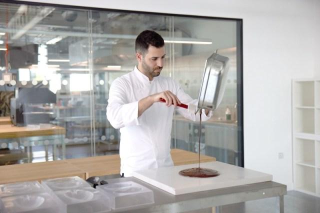 Philip Khoury Pouring Chocolate Onto Slab