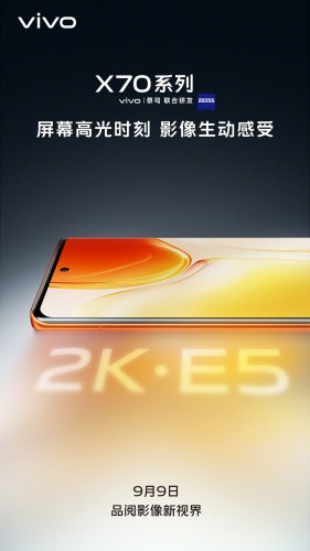 vivo X70 series teased with a 2K E5 display, vanilla and Pro+ variants appear on TENAA with full specs