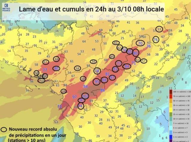 Précipitations cumulées en vingt-quatre heures au 3 octobre, 8heures. Les records sont entourés en noir.