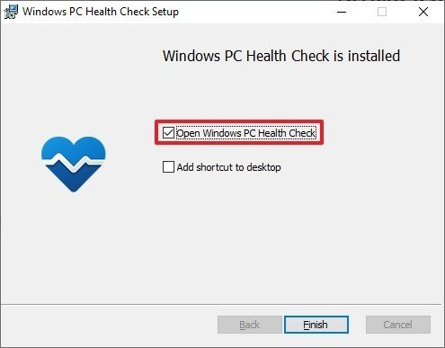 Finish PC Health Check app install
