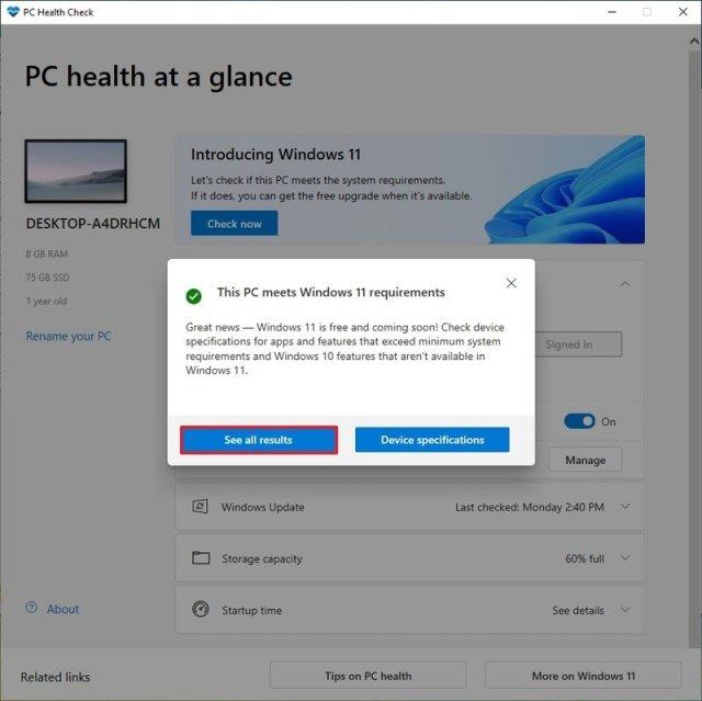 PC Health Check app results