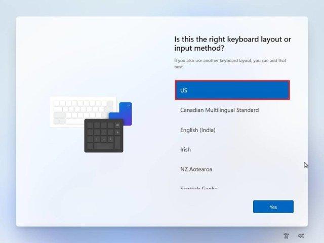 Windows 11 OOBE keyboard layout